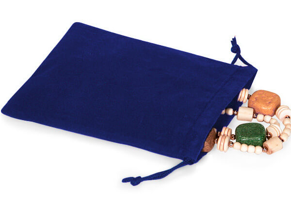 "*Blue Velour Jewelry Pouches with Drawstrings, 4x5.5"", 25 Pack"