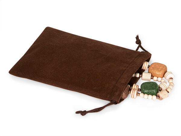 """*Chocolate Velour Jewelry Pouches with Drawstrings, 4x5.5"""", 25 Pack"""