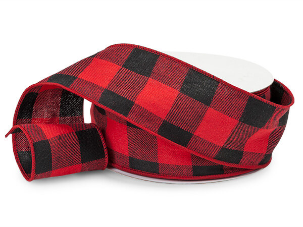 "Buffalo Plaid Red & Black Wired Ribbon 2-1/2""x25 yds"