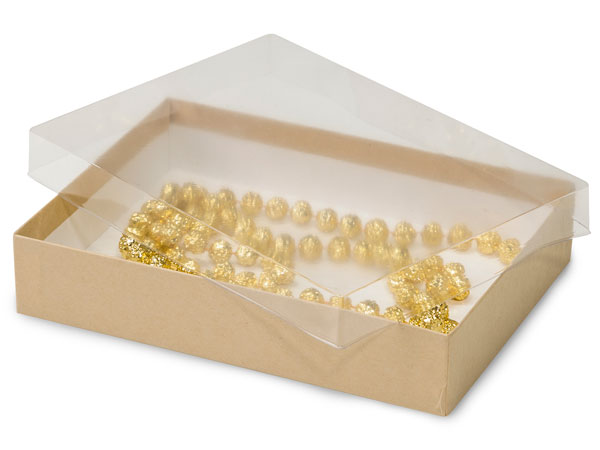 "9-5/8x6-3/8x1-5/8"" Clear Lid Boxes With Kraft Bases"