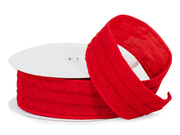 "Red Sweater Wired Ribbon, 2-1/2"" x 10 yards"