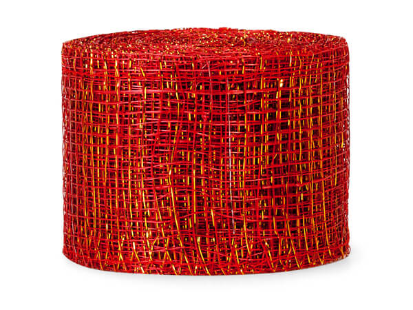 "Red and Gold Sinamay Mesh Ribbon 2"" x 10 yds"