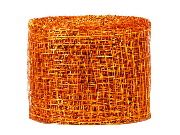 "*Orange and Gold Sinamay Mesh Ribbon, 2"" x 10 yards"