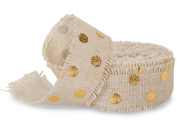 "Gold Dots on Natural 1"" x 5 yds Frayed Linen Ribbon"