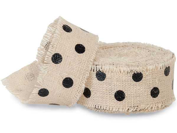 "Black Dots on Natural 1"" x 5 yds Frayed Linen Ribbon"