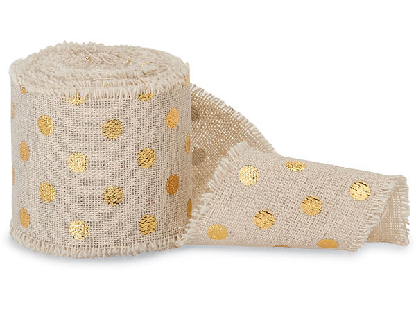"Gold Dots on Natural 2"" x 5 yds Frayed Linen Ribbon"