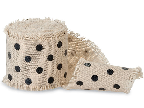 "Black Dots on Natural 2"" x 5 yds Frayed Linen Ribbon"