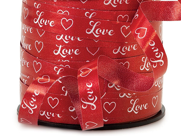 "Love Script Red Curling Ribbon, 3/8""x250 yards"