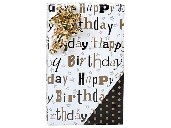 "Elegant Birthday Reversible Gift Wrap, 24""x85' Cutter Roll"