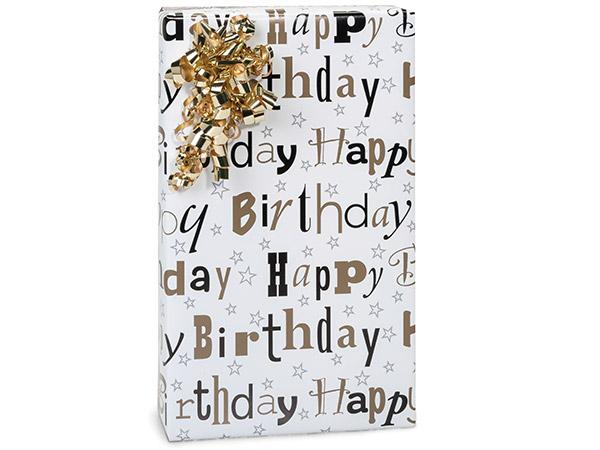 "Elegant Birthday Reversible Gift Wrap, 24""x417' Counter Roll"