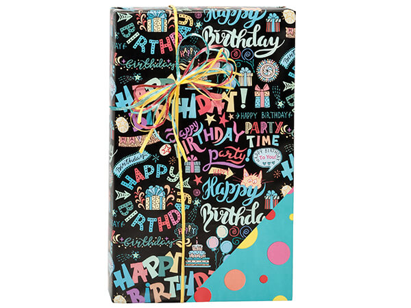 """Birthday Scribbles Reversible Gift Wrap Paper, 24""""x417' Counter Roll"""