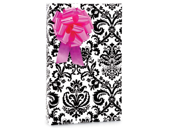"Black Flourish 24""x417' Roll Gift Wrap"