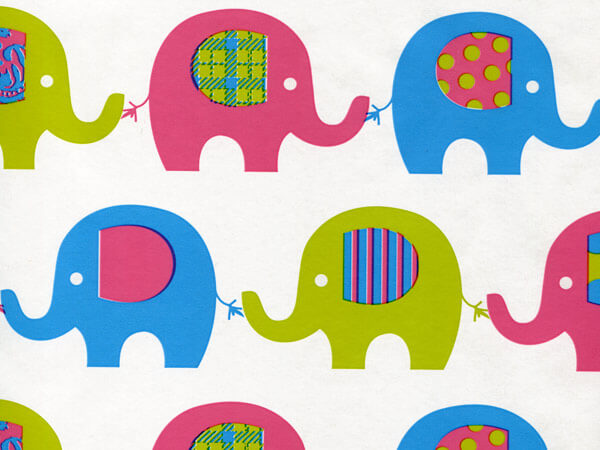"Elephant March 24""x85' Roll Gift Wrap"