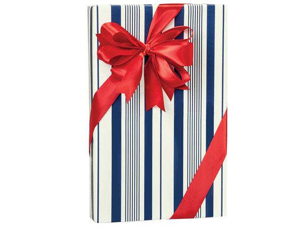"Blue Indigo Stripe 24""x417' Gift Wrap Roll"