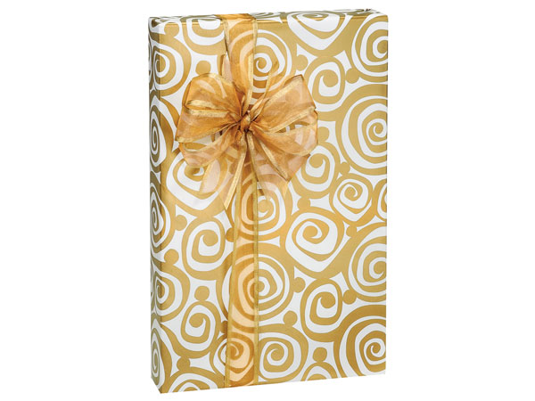 "Golden Swirls 24""x85' Roll Gift Wrap"