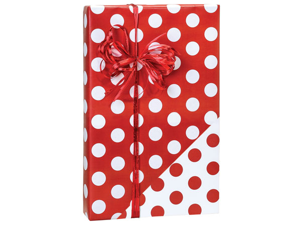 """Red Polka Dots 24""""x85' Roll Reversible Gift Wrap"""