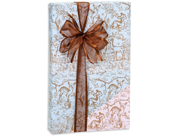 """Lullaby Meadow Toile Reversible Gift Wrap, 24""""x85' Cutter Roll"""