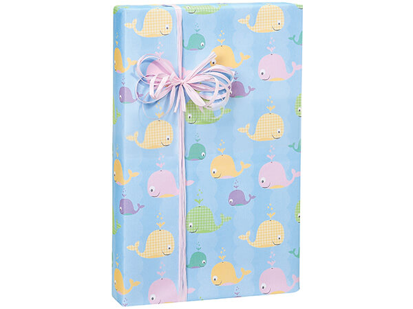 """*Whalecome Baby 24""""x417' Roll Gift Wrap"""