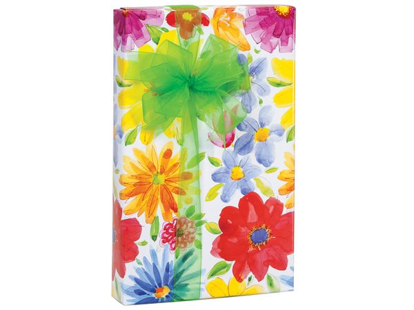 "Watercolor Floral Wrapping Paper 24""x417' Counter Roll"
