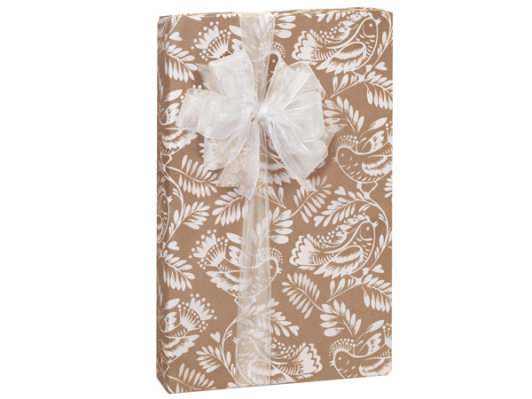 """Bird Branch Kraft Wrapping Paper 24""""x417' Counter Roll"""