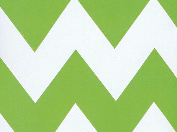 "Apple Green Chevron Stripe 24""x 85' Gift Wrap Roll"