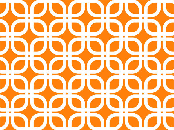 "Orange Geo Graphic Links 24""x85' Roll Gift Wrap"
