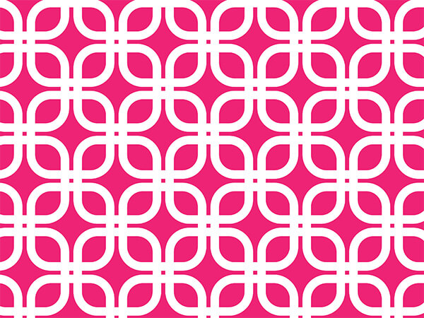 "*Hot Pink Geo Graphic Links 24""x417 Roll Gift Wrap"