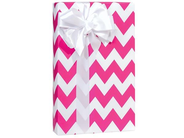 "Hot Pink Chevron Stripe 24""x85' Roll Gift Wrap"