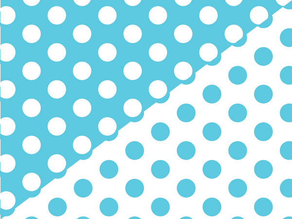 "Turquoise Polka Dot Reversible Gift Wrap, 24""x417' Counter Roll"