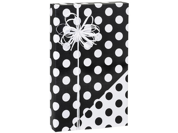 "Black Polka Dot 24""x417' Roll Reversible Gift Wrap"