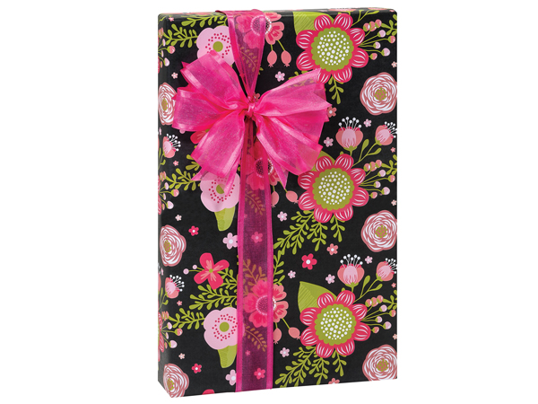 "Chalkboard Flowers Wrapping Paper 24""x85' Cutter Roll"
