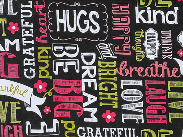 "*Chalkboard Sentiments 24""x417' Roll Gift Wrap"