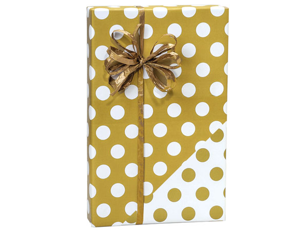 """Gold Polka Dots 24""""x417' Roll Reversible Gift Wrap"""