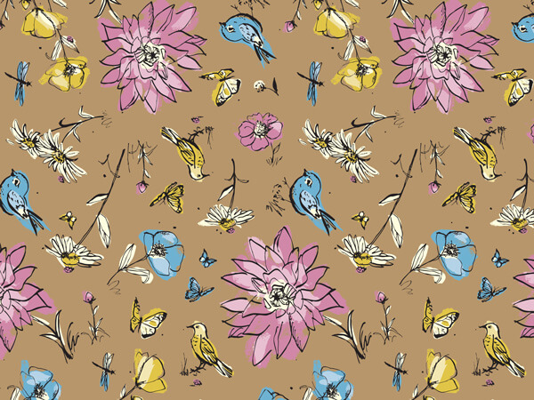 "Wildflower Meadow 24""x417' (kraft) Roll Gift Wrap"