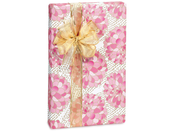 "Gilded Blooms 24""x417' Recycled Gift Wrap Counter Roll"