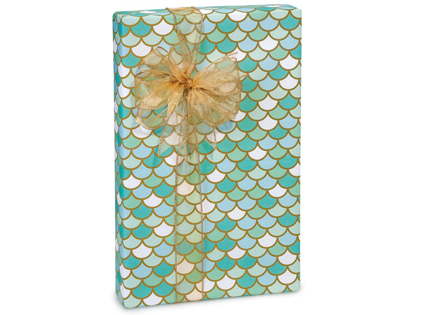 "Mermaid's Paradise 24""x417' Recycled Gift Wrap Counter Roll"