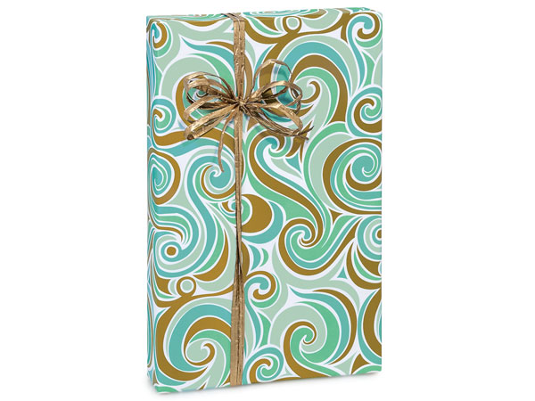 "Coastal Paradise 24""x417' Recycled Gift Wrap Counter Roll"
