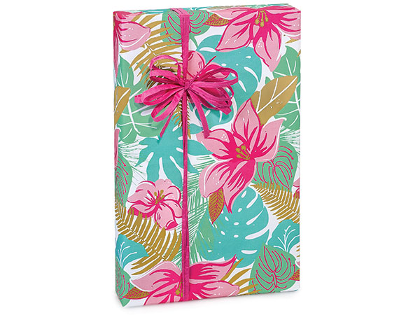 "Tropical Paradise 24""x417' Recycled Gift Wrap Counter Roll"