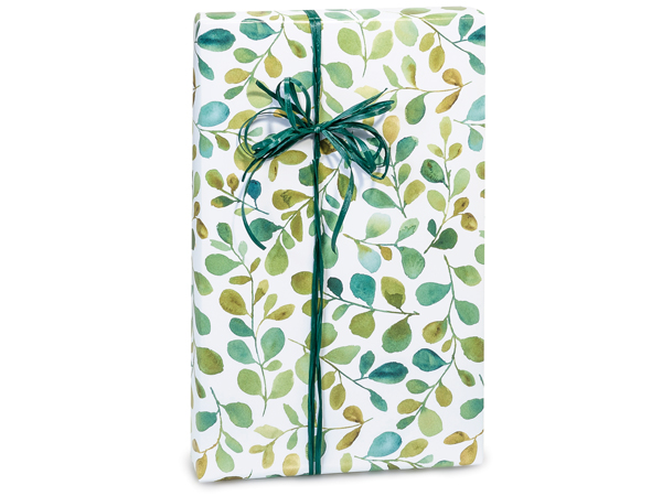 "Watercolor Greenery 24""x417' Recycled Gift Wrap Counter Roll"