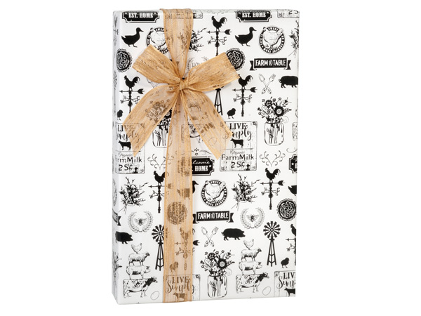 "Farmhouse Favorites 24""x417' Recycled Gift Wrap Counter Roll"