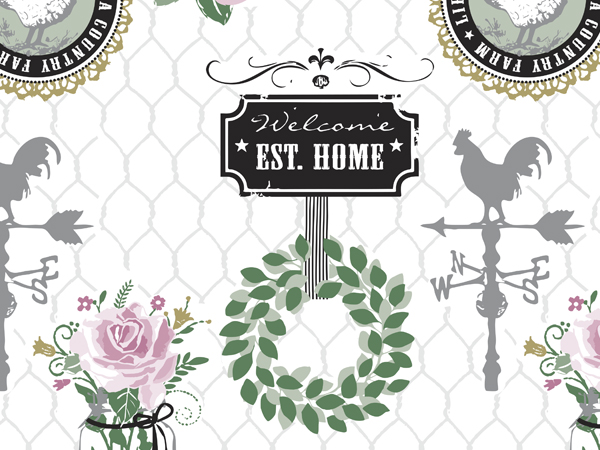 """*Farmhouse Charm Wrapping Paper 24""""x417' Counter Roll"""