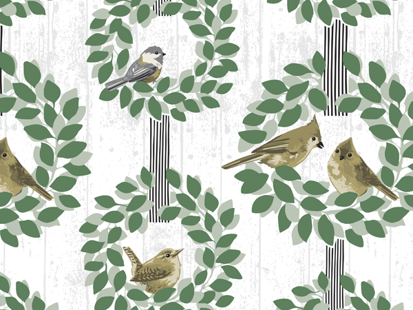 "Farmhouse Birds 24""x417' Recycled Gift Wrap Counter Roll"