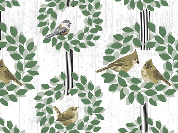 """Farmhouse Birds 24""""x417' Gift Wrap Counter Roll"""