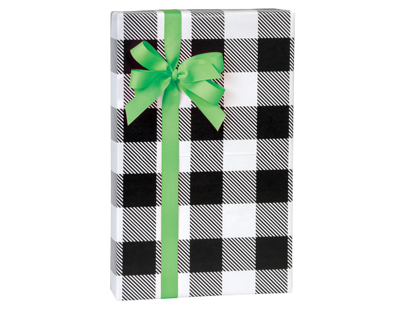 "Buffalo Plaid Black 24""x417' Recycled Gift Wrap Counter Roll"