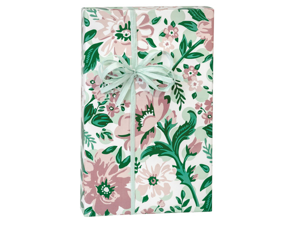 """Fresh Mint Floral Wrapping Paper 24""""x417' Counter Roll"""