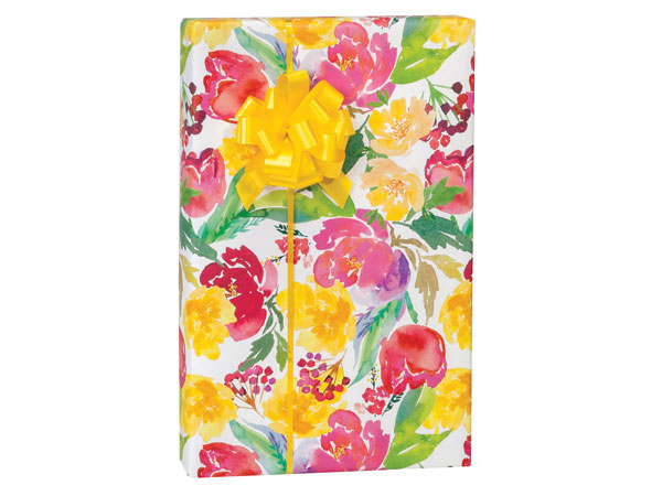 "Watercolor Garden Blooms Gift Wrap 24""x417' Counter Roll"