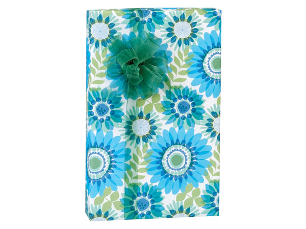 "Ombre Flowers 24""x85' Recycled Gift Wrap Cutter Box"