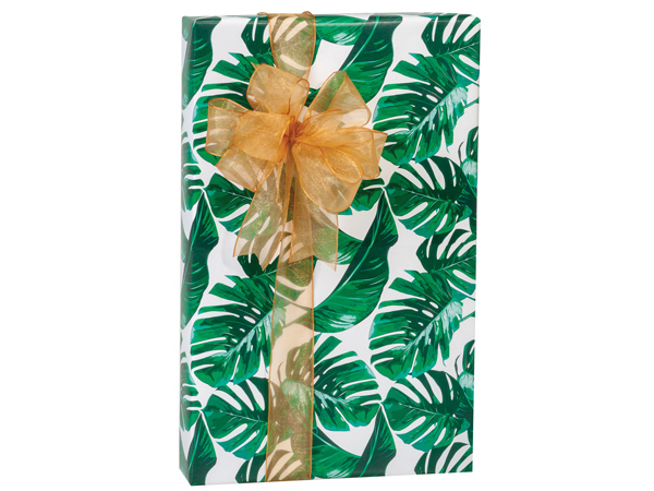 "Tropical Palms 24""x85' Recycled Gift Wrap Cutter Box"