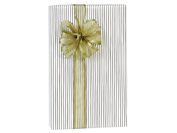 "Black Pinstripe 24""x417' Recycled Gift Wrap Counter Roll"