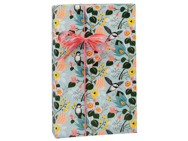 "Hummingbird Floral Wrapping Paper 24""x417' Counter Roll"